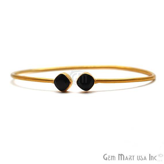 Black Onyx 6mm Cushion Shape Double Stone Gold Plated Handmade Adjustable Bangle Bracelet (BOBA-19050)