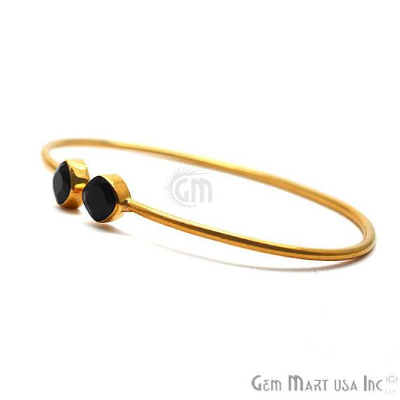 Black Onyx 6mm Cushion Shape Double Stone Gold Plated Adjustable Bangle Bracelet