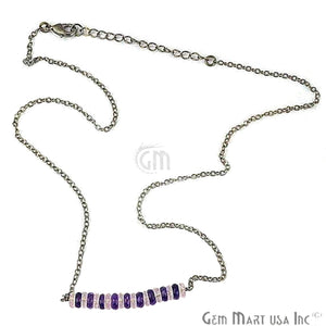 Faceted 42x5mm Gemstone Bead Charm 18 Inch Long Necklace Chain (Pick your Gemstone, Plating)