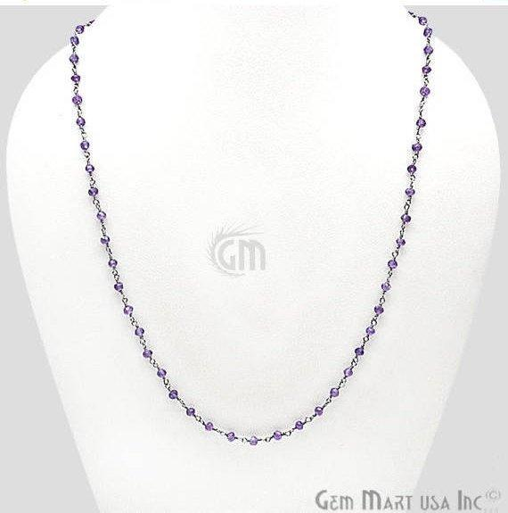 Faceted Round Shape 18 Inch Long Wire Wrapped Bead Necklace Chain (Pick your Gemstone, Plating)