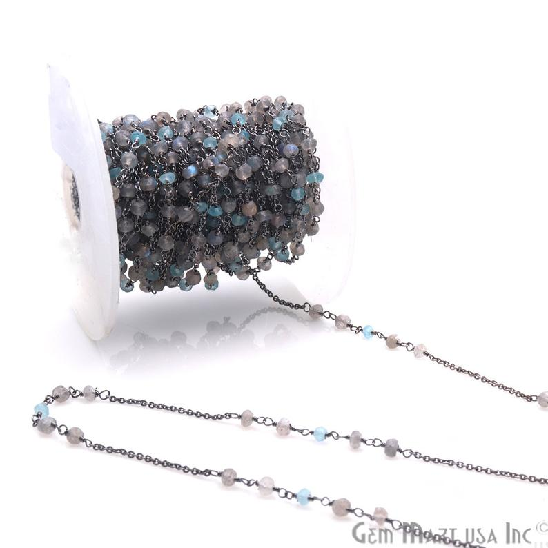 Apatite, Labradorite 3-3.5mm Beaded Oxidized Wire Wrapped Anglican Rosary Chain