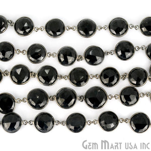 Black Spinel 12mm Round Oxidized Bezel Continuous Connector Chain