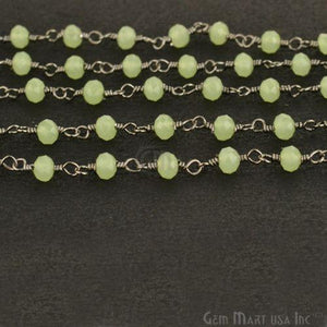 Sea Green 3-3.5mm Oxidized Wire Wrapped Beads Rosary Chain