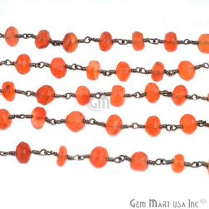 Carnelian 7-8mm Oxidized Wire Wrapped Beads Rosary Chain