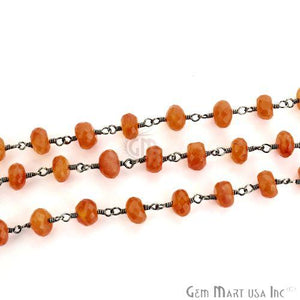 Carnelian 6-7mm Oxidized Wire Wrapped Beads Rosary Chain