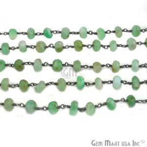 Chrysoprase 6-7mm Oxidized Wire Wrapped Beads Rosary Chain