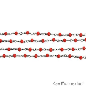 Red Coral 3-3.5mm Oxidized Wire Wrapped Beads Rosary Chain