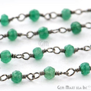 Dyed Emerald 3-3.5mm Oxidized Wire Wrapped Beads Rosary Chain