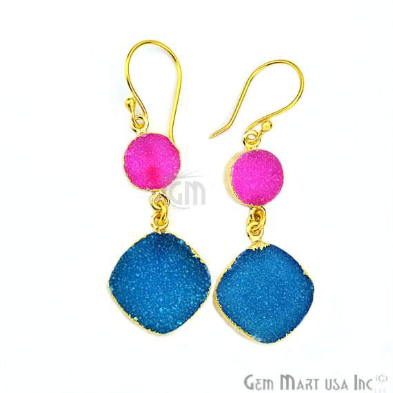 Double Druzy Stone 52x10mm Gold Plated Hook Earrings (Pick your Gemstone) (90117-1)