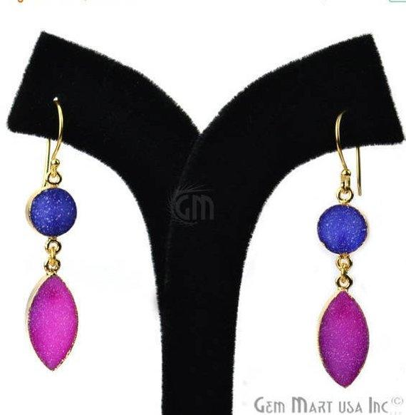 Double Druzy Stone 52x10mm Gold Plated Hook Earrings (Pick your Gemstone) (90135-1)