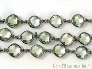 Green Amethyst 10mm Mix Faceted Oxidized Continuous Connector Chain