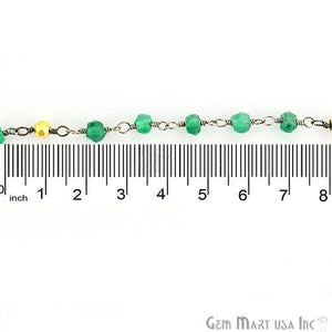 Green Onyx With Golden Pyrite 3-3.5mm Oxidized Wire Wrapped Beads Rosary Chain
