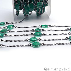 Green onyx 10-15mm Oxidized Link Bezel Connector Chain