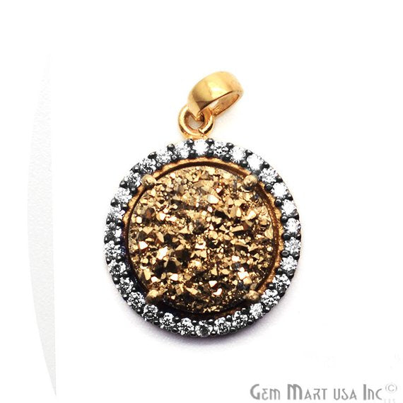 Druzy With Cubic Zircon 12mm Single Bail Gold Plated Necklace Pendant