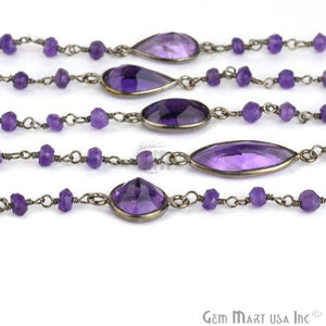 Amethyst 10mm Beads Oxidized Bezel Rosary Connector Chain
