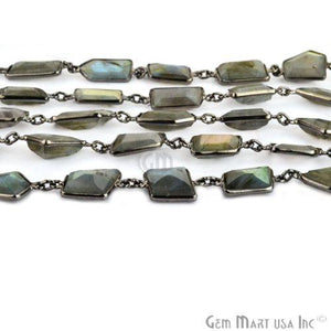Labradorite 12-15mm Mix Faceted Oxidized Continuous Connector Chain
