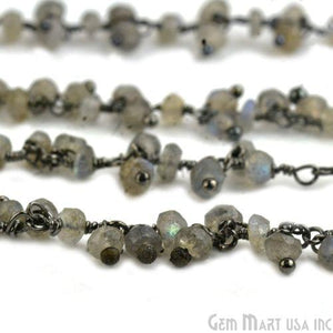 Labradorite Faceted Beads Oxidized Wire Wrapped Cluster Rosary Chain