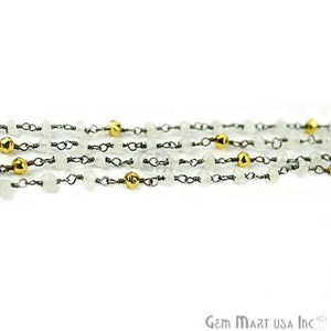 Rainbow & Golden Pyrite 3-3.5mm Oxidized Wire Wrapped Beads Rosary Chain