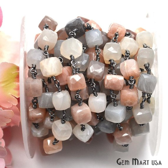 Multi Moonstone Gemstone Beads Oxidized Wire Wrapped Bead Fancy Rosary Chain