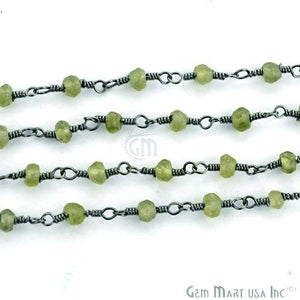 Peridot 3-3.5mm Oxidized Plated Wire Wrapped Beads Rosary Chain