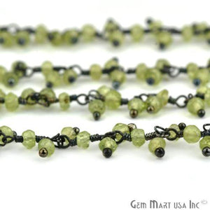 Peridot Faceted Beads Oxidized Wire Wrapped Cluster Dangle Rosary Chains