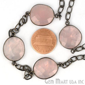 Rose Chalcedony 15mm Oxidized Bezel Link Connector Chain