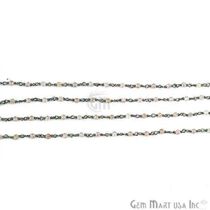 Rose Quartz 2mm Beads Chain, Oxidized Wire Wrapped Rosary Chain