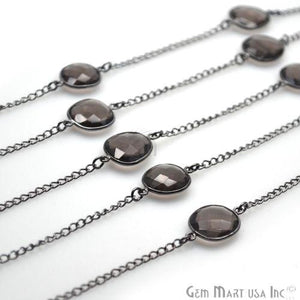 Smoky Topaz 10-15mm Oxidized Bezel Connector Link Rosary Chain