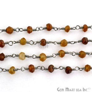 Petrol Tourmaline 3-3.5mm Oxidized Plated Wire Wrapped Beads Rosary Chain