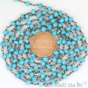 Turquoise Oxidized Wire Wrapped Beads Rosary Chain