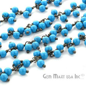 Turquoise Faceted Beads Oxidized Wire Wrapped Cluster Dangle Rosary Chains