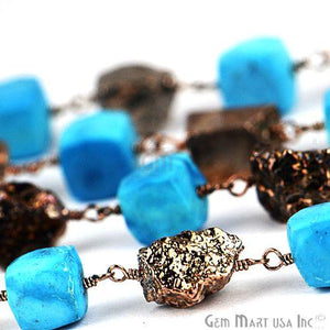 Turquoise With Black Pyrite Nugget 6-7mm Oxidized Wire Wrapped Beads Rosary Chain
