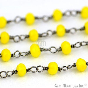Yellow Chalcedony Oxidized Wire Wrapped Beads Rosary Chain