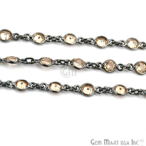 Yellow Zircon 4mm Round Oxidized Bezel Continuous Connector Chain