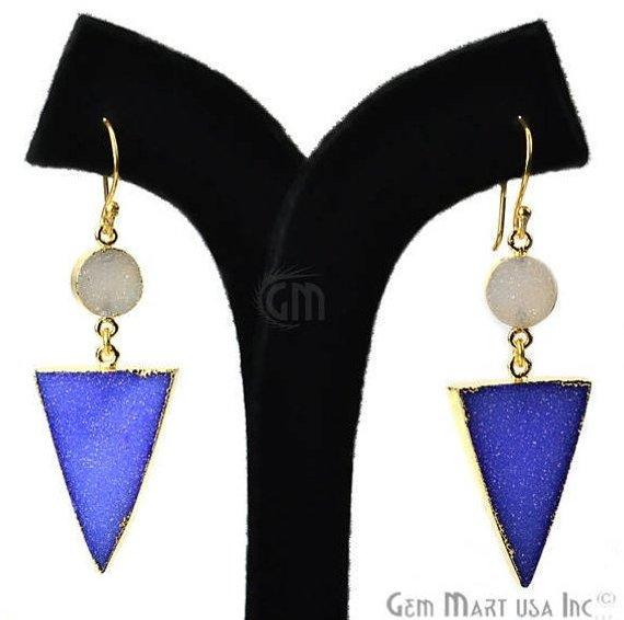 Blue & White Druzy Dangle Earring Gold Electroplated Druzy Gemstone Hook Earring (BWER-90133)