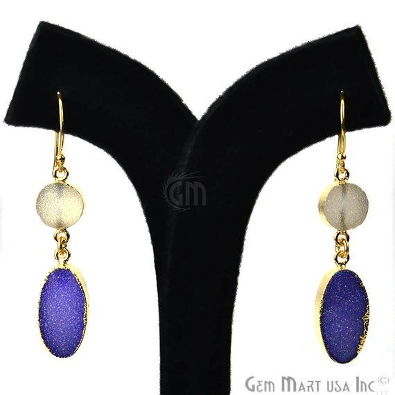 Double Druzy 52x10mm Gold Plated Dangle Hook Earrings (Pick your Gemstone) (90138-1)