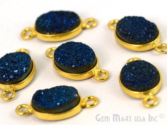 Titanium Druzy 8x10mm Oval Shape Bezel Gemstone Connector (Pick Your Color, Bail, Plating)