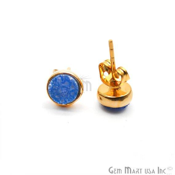 Round Shape 6mm Gold Plated Druzy Stud Earrings (Pick your Gemstone) (90021-1)