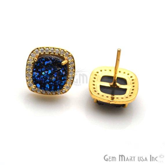 Square Shape 8mm Gold Plated Cubic Zircon Druzy Stud Earrings (Pick your Gemstone) (90032-1)