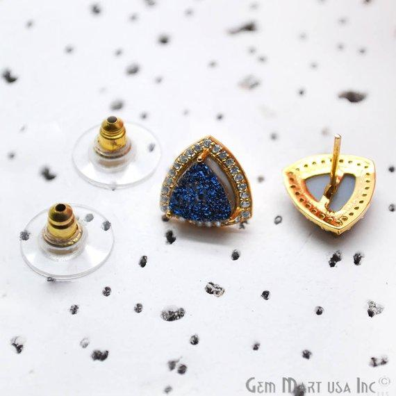 Trillion Shape 8mm Gold Plated Cubic Zircon Druzy Stud Earrings (Pick your Gemstone) (90035-2)