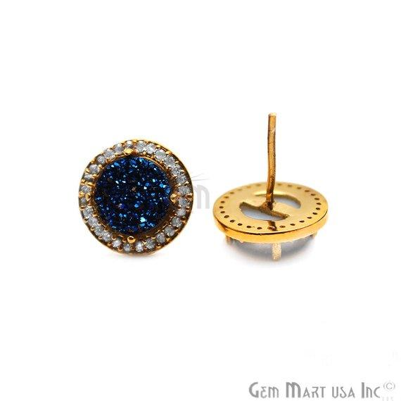 Round Shape 8mm Gold Plated Cubic Zircon Druzy Stud Earrings (Pick your Gemstone) (90036-1)