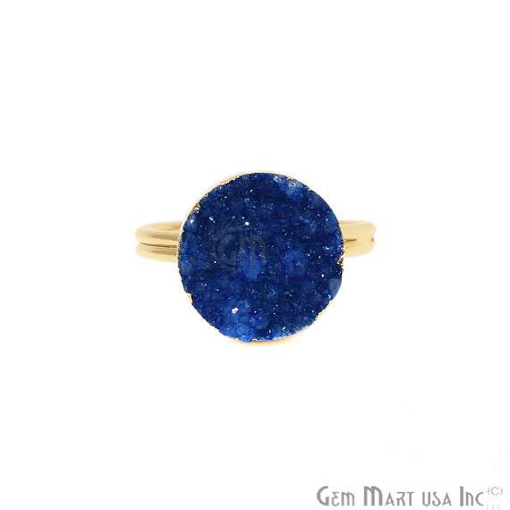 Gold Plated Blue Druzy Gemstone Statement Ring (BZRG)