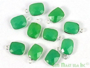 Chrysoprase Chalcedony Octagon 9x11mm Single Bail Silver Plated Gemstone Connector - GemMartUSA