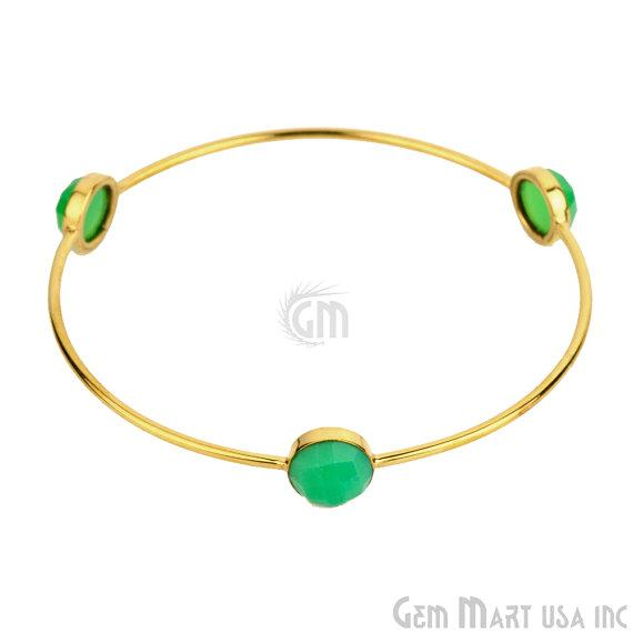Handcrafted Gold Plated 3pc Natural Chrysoprase Chalcedony 10mm Round Shape Stacking Bangle Bracelet (CCBA-19006)