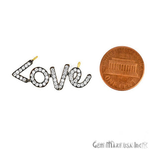 'Love' 18x12mm CZ Pave Gold Vermeil Charm for Bracelet & Pendants
