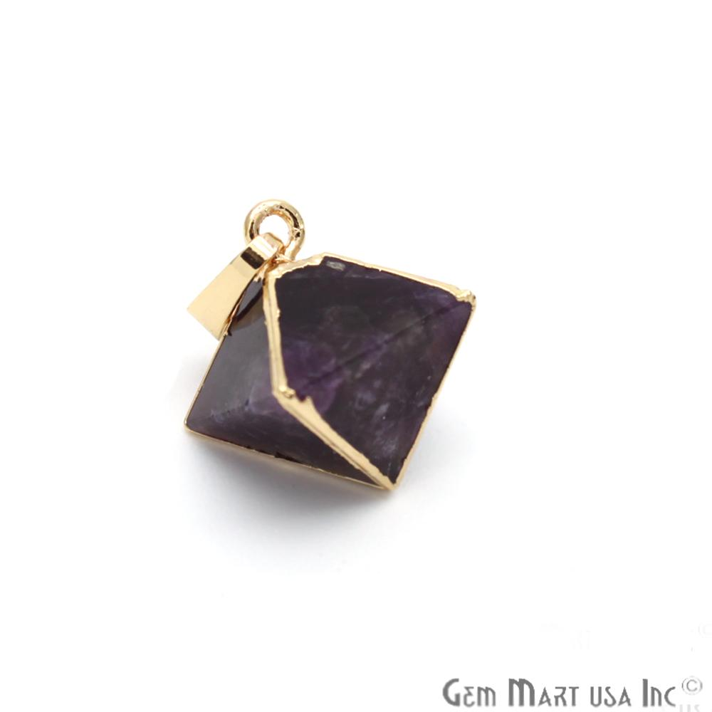 Gemstone Pyramid Pendant, 12mm, Gemstone Gold Pendant,Bracelets Charms,(CHPR)