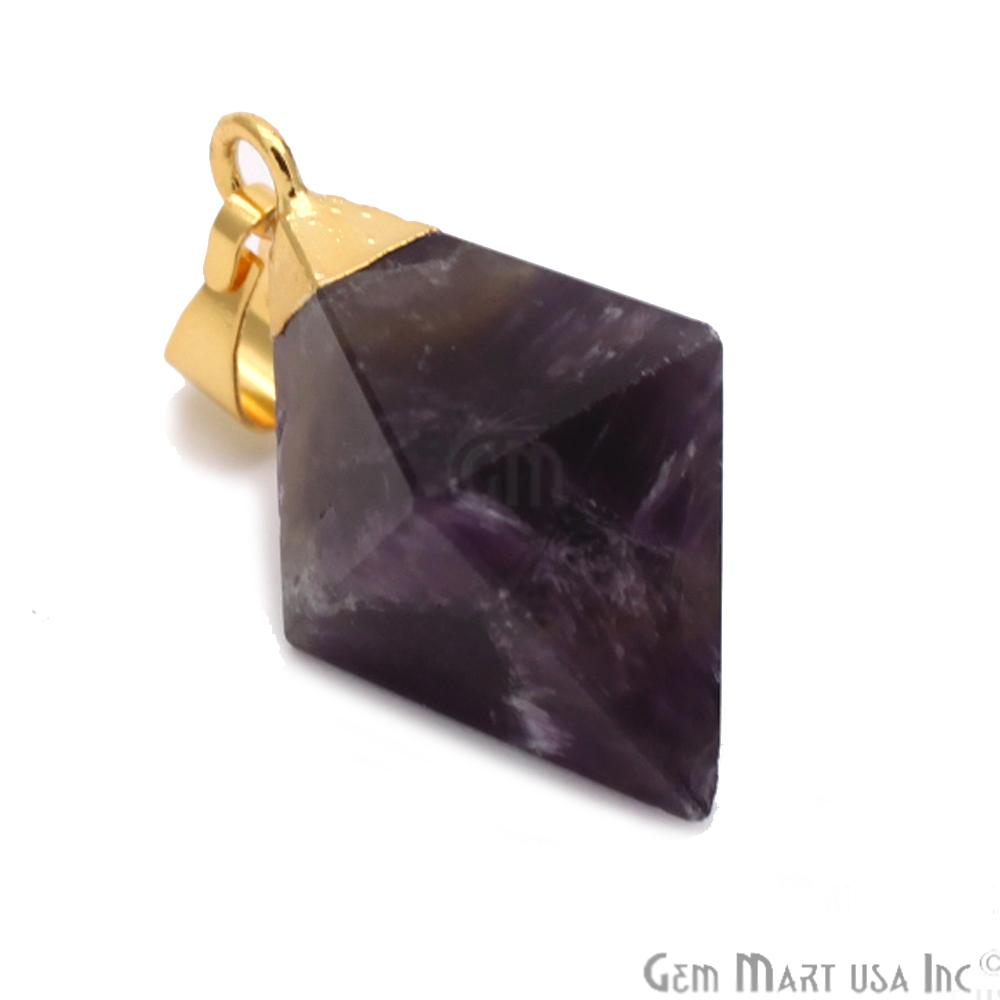 Gemstone Pyramid Pendant, 24mm, Gemstone Gold Pendant,Bracelets Charms,(CHPR)