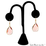 Hydro Morganite Pear Hook Earrings, Dangle Earrings, Gold Plated Hook Earrings, Gemstone Earrings (CHPR-11)