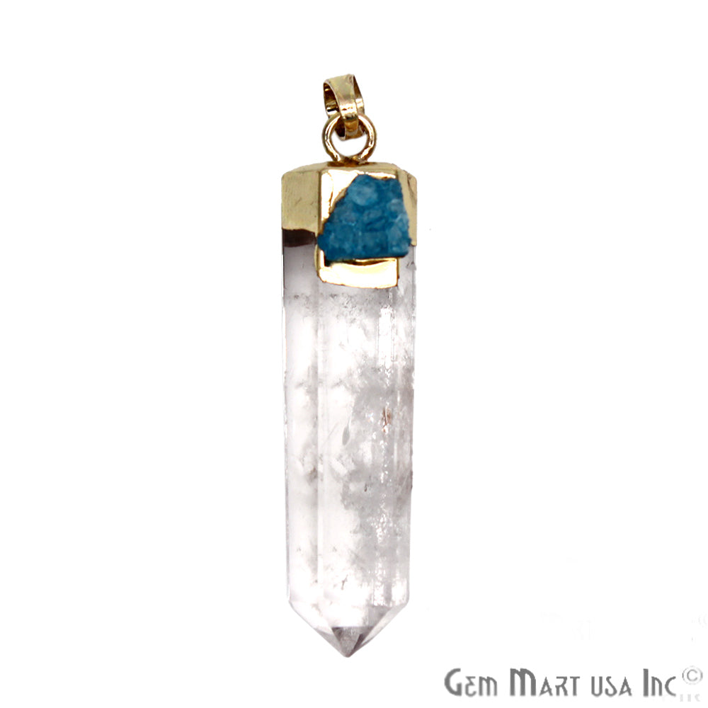 DIY, Crystal With Blue Pendant, Pendants for Necklaces, Gold Bail 21x50mm Gemstone Pendant (CHPR-50753)