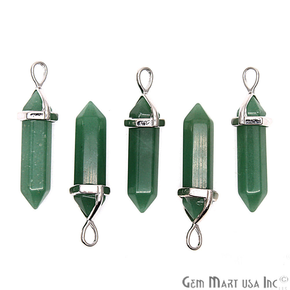 Double Terminated Pencil Silver Bail Wand Gemstone Pendant 1pc (Pick Gemstone)